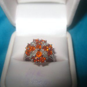 Fire Opal and White Topaz ring, Size 9